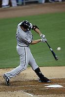 Paul Konerko #14 of the Chicago White Sox bats against the Los Angeles Dodgers at Dodger Stadium on June 15, 2012 in Los Angeles, California. Los Angeles defeated Chicago 7-6. (Larry Goren/Four Seam Images)