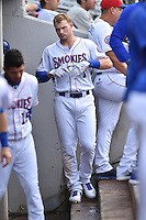 Tennessee Smokies designated hitter Ian Happ (1) in dugout during a game against the Jackson Generals at Smokies Stadium on July 5, 2016 in Kodak, Tennessee. The Generals defeated the Smokies 6-4. (Tony Farlow/Four Seam Images)