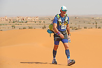 4th October 2021; Tisserdimine to Kourci Dial Zaid;  Marathon des Sables, stage 2 of  a six-day, 251 km ultramarathon, which is approximately the distance of six regular marathons. The longest single stage is 91 km long. This multiday race is held every year in southern Morocco, in the Sahara Desert. Sean Rice (GB)