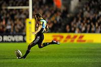 Nick Evans of Harlequins takes a penalty kick