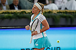 Svetlana Kuznetsova from Russia celebrates during her Madrid Open tennis tournament match against Samantha Stosur from Australia in Madrid, Spain. May 06, 2015. (ALTERPHOTOS/Victor Blanco)