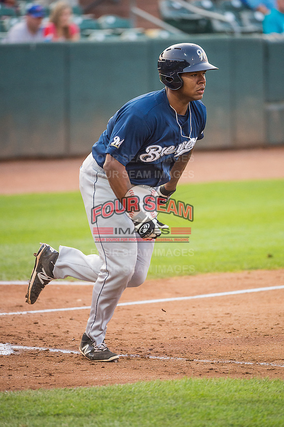 David Denson (30) of the Helena Brewers at bat against the Ogden Raptors in Pioneer League action at Lindquist Field on August 19, 2015 in Ogden, Utah.Ogden defeated Helena 4-2.  (Stephen Smith/Four Seam Images)