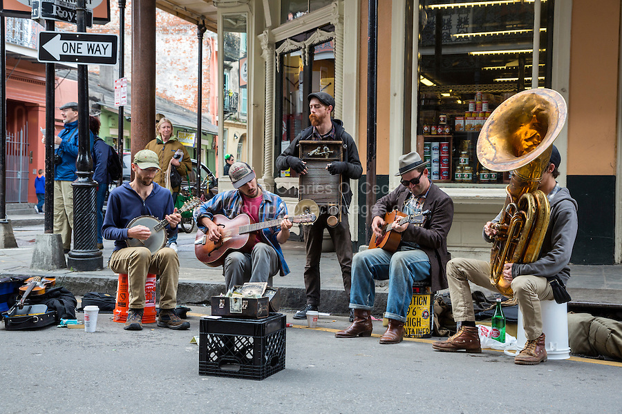 French Quarter, New Orleans, Louisiana.  Street Musicians Performing on Royal Street.