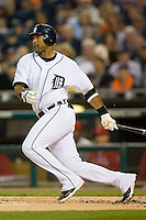 Detroit Tigers' Gary Sheffield (3) follows through on his swing versus the Los Angeles Angels at Comerica Park in Detroit, MI, Sunday, April 27, 2008.