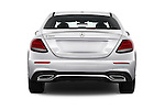 Straight rear view of 2018 Mercedes Benz E-Class E300 4 Door Sedan Rear View  stock images