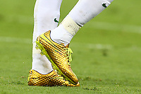 The gold Nike football boots of Neymar of Brazil