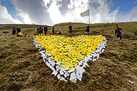 20201 03 23 Yellow heart-shaped memorial on Bwlch mountain near Treorchy, Wales, UK.