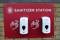 Hand sanitiser station during Stevenage vs Swansea City, Emirates FA Cup Football at the Lamex Stadium on 9th January 2021