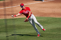 Philadelphia Phillies third baseman Nick Maton (67) throws to first base during a Major League Spring Training game against the Baltimore Orioles on March 12, 2021 at the Ed Smith Stadium in Sarasota, Florida.  (Mike Janes/Four Seam Images)