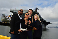 Musical group Queen Machali poses near the USS Hornet at the former Alameda Naval Air Station in Alameda, CA Sunday March 3, 2019. (Photo by Alan Greth)