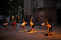 Spain - Barcelona - Barcelonians doing a yoga class with teacher Andrea Nutini early in the morning in the Ciudad Vella.