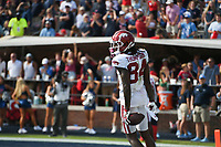 Arkansas wide receiver Warren Thompson (84) scores, Saturday, October 9, 2021 during the fourth quarter of a football game at Vaught Hemingway Stadium in Oxford, Miss. Check out nwaonline.com/211010Daily/ for today's photo gallery. <br /> (NWA Democrat-Gazette/Charlie Kaijo)