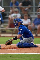 Indiana State Sycamores catcher Grant Magill (5) during the teams opening game of the season against the Pitt Panthers on February 19, 2021 at North Charlotte Regional Park in Port Charlotte, Florida.  (Mike Janes/Four Seam Images)