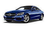 Stock pictures of low aggressive front three quarter view of 2018 Mercedes Benz C-Class C300 2 Door Coupe Low Aggressive