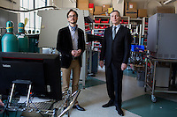 """Professors Antoine Allanore, Thomas B. King Assistant Professor of Metallurgy, (glasses) and Donald Sadoway, John F. Elliott Professor of Materials Chemistry, research in MIT's Department of Materials Science and Engineering.  Seen here at MIT, the two have collaborated to develop a new method of steel manufacturing the reduces carbon emissions.  The new method has been named """"green steel."""""""
