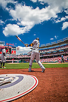 21 June 2015: Pittsburgh Pirates outfielder Starling Marte takes a swing on deck prior to the start of play against the Washington Nationals at Nationals Park in Washington, DC. The Nationals defeated the Pirates 9-2 to sweep their 3-game weekend series, and improve their record to 37-33. Mandatory Credit: Ed Wolfstein Photo *** RAW (NEF) Image File Available ***