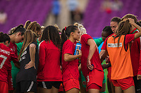 ORLANDO, FL - FEBRUARY 24: CANWNT huddles during a game between Brazil and Canada at Exploria Stadium on February 24, 2021 in Orlando, Florida.