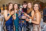 Sarah Fitzgerald, Grainne Earley, Lennox Veaujouan, Grace Tobin and Leah Shanahan attending the Gaelcoláiste Chiarraí Debs in the Ballyroe Heights Hotel on Thursday night.