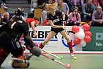 GER - Luebeck, Germany, February 06: During the 1. Bundesliga Damen indoor hockey semi final match at the Final 4 between Berliner HC (blue) and Duesseldorfer HC (red) on February 6, 2016 at Hansehalle Luebeck in Luebeck, Germany. Final score 1-3 (HT 0-1). (Photo by Dirk Markgraf / www.265-images.com) *** Local caption *** Malin Stiebitz #23 of Berliner HC