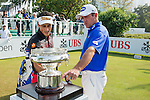 Scott Hend of Australia (in blue) and Carlos Pigem of Spain look at the Trophy on display during the 58th UBS Hong Kong Golf Open as part of the European Tour on 11 December 2016, at the Hong Kong Golf Club, Fanling, Hong Kong, China. Photo by Marcio Rodrigo Machado / Power Sport Images