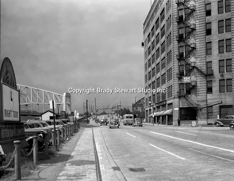 Pittsburgh PA:  View looking North on Water Street toward the Point and Manchester Bridges.