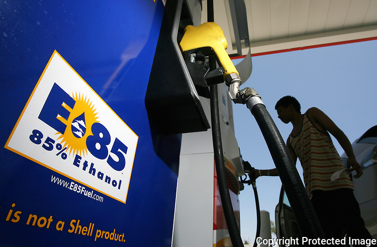 E85 fuel, 85 percent ethanol and 15 percent gasoline, is available at Bressi Ranch Fuel Mart in Carlsbad, California, in 2009.  photo for the North County Times