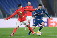 18th February 2021, Rome, Italy;  Dani Ceballof Arsenal FC competes for the ball with Darwin Nunez during the UEFA Europa League round of 32 Leg 1 match between SL Benfica and Arsenal at Stadio Olimpico, Rome, Italy on 18 February 2021.