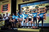 podium with team Movistar as best ranked team. <br /> <br /> Stage 10: Saint-Flour to Albi (217.5km)<br /> 106th Tour de France 2019 (2.UWT)<br /> <br /> ©kramon