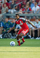 Toronto FC defender Danleigh Borman #25 in action during an MLS game between the Seattle Sounders FC and the Toronto FC at BMO Field in Toronto on June 18, 2011..The Seattle Sounders FC won 1-0.