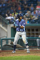 Wenceel Perez (27) of the West Michigan Whitecaps at bat against the Fort Wayne TinCaps at Parkview Field on August 5, 2019 in Fort Wayne, Indiana. The TinCaps defeated the Whitecaps 9-3. (Brian Westerholt/Four Seam Images)