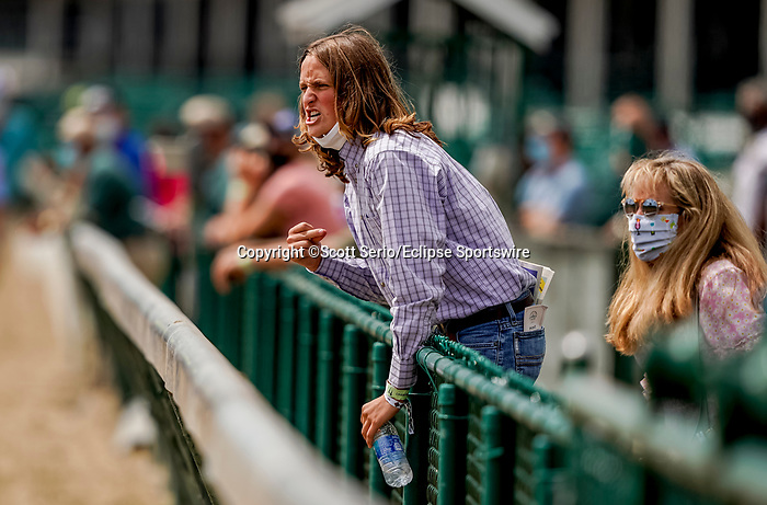 September 1, 2020: Erik Asmussen cheers on his father's horse Allege in a maiden race on opening day of Kentucky Derby Week at Churchill Downs in Louisville, Kentucky. Scott Serio/Eclipse Sportswire/CSM