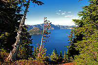 A view of Crater Lake National Park, Oregon at the end of September.