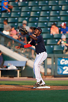 Lowell Spinners first baseman Xavier LeGrant (15) waits to receive a throw during a game against the Vermont Lake Monsters on August 25, 2018 at Edward A. LeLacheur Park in Lowell, Massachusetts.  Vermont defeated Lowell 4-3.  (Mike Janes/Four Seam Images)