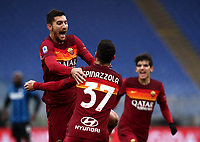 Football, Serie A: AS Roma -  FC Internazionale Milano, Olympic stadium, Rome, January 10, 2021. <br /> Roma's Lorenzo Pellegrini (l) celebrates after scoring with his teammate Leonardo Spinazzola (r) during the Italian Serie A football match between Roma and Inter at Rome's Olympic stadium, on January 10, 2021.  <br /> UPDATE IMAGES PRESS/Isabella Bonotto