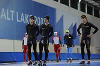 SCHAATSEN: SALT LAKE CITY: Utah Olympic Oval, 13-11-2013, Essent ISU World Cup, training, Ronald Mulder (NED), Jan Smeekens (NED), Stefan Groothuis (NED), ©foto Martin de Jong