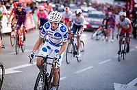 Polka Dot Jersey / KOM leader Geoffrey Bouchard (FRA/AG2R La Mondiale) in the Madrid laps<br /> <br /> Stage 21: Fuenlabrada to Madrid (107km)<br /> La Vuelta 2019<br /> <br /> ©kramon