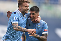 Ciro Immobile of SS Lazio celebrates with Joaquin Correa after scoring on penalty the goal of 2-0 during the Serie A football match between SS Lazio and Genoa at Olimpico Stadium in Roma (Italy), May 2th, 2021. Photo Antonietta Baldassarre / Insidefoto