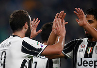 Calcio, Serie A: Juventus Stadium. Torino, Juventus Stadium, 29 ottobre 2016.<br /> Juventus' Gonzalo Higuain, left, celebrates with teammate Sami Khedira after scoring the winning goal during the Italian Serie A football match between Juventus and Napoli at Turin's Juventus Stadium, 29 October 2016. Juventus won 2-1.<br /> UPDATE IMAGES PRESS/Isabella Bonotto