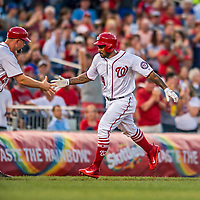 15 August 2017: Washington Nationals outfielder Howie Kendrick rounds the bases after hitting his 100th MLB career home run to lead off the 3rd inning and open the scoring against the Los Angeles Angels at Nationals Park in Washington, DC. The Nationals defeated the Angels 3-1 in the first game of their 2-game series. Mandatory Credit: Ed Wolfstein Photo *** RAW (NEF) Image File Available ***