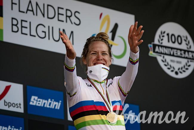 A very excited Ellen van Dijk (NED/Trek-Segafredo) became TT World Champion for the 2nd time in her career (first in 2013) <br /> <br /> Women Elite Individual Time Trial from Knokke-Heist to Bruges (30.3 km)<br /> <br /> UCI Road World Championships - Flanders Belgium 2021<br /> <br /> ©kramon
