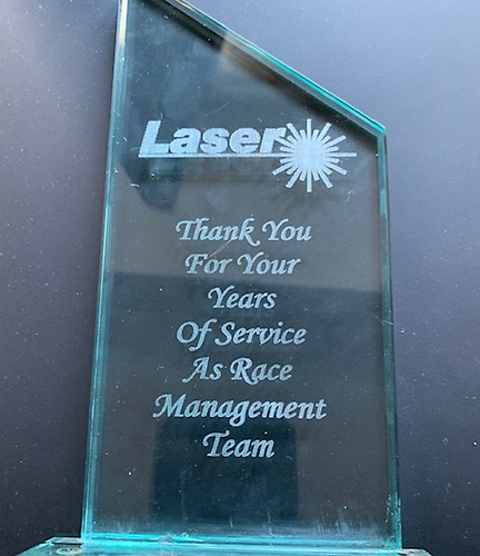 Laser thank you trophy