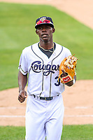 Kane County Cougars shortstop Jasrado Chisholm (3) jogs to the dugout between innings during a Midwest League game against the Quad Cities River Bandits on July 1, 2018 at Northwestern Medicine Field in Geneva, Illinois. Quad Cities defeated Kane County 3-2. (Brad Krause/Four Seam Images)