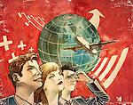 Male and female professionals with globe and aircraft depicting global leaders in business