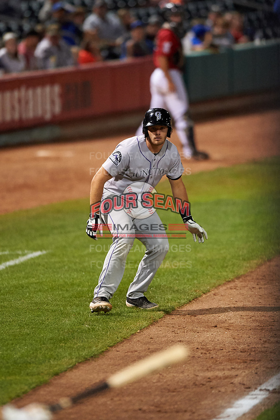 Grand Junction Rockies Reese Berberet (22) leads off third base during a Pioneer League game against the Grand Junction Rockies at Dehler Park on August 15, 2019 in Billings, Montana. Billings defeated Grand Junction 11-2. (Zachary Lucy/Four Seam Images)