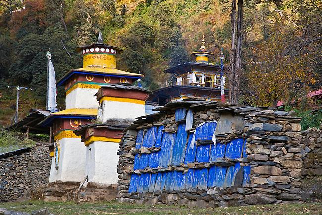 CHORTENS and a MANI WALL at a remote TIBETAN BUDDHIST MONASTERY - NEPAL HIMALALA
