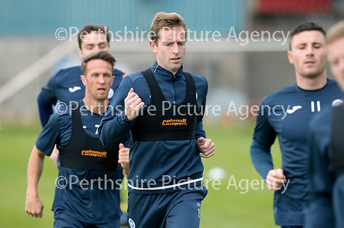 St Johnstone Training….15.09.17<br />Steven MacLean pictured during training this morning at McDiarmid Park ahead of tomorrow's game at Dundee<br />Picture by Graeme Hart.<br />Copyright Perthshire Picture Agency<br />Tel: 01738 623350  Mobile: 07990 594431