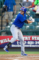 Iowa Cubs shortstop Tim Torres (18) at bat against the Round Rock Express in the Pacific Coast League baseball game on July 21, 2013 at the Dell Diamond in Round Rock, Texas. Round Rock defeated Iowa 3-0. (Andrew Woolley/Four Seam Images)