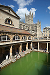 Great Britain, Bath and NE Somerset, Bath: The Roman Baths, built between the 1st and 4th centuries, with Bath Abbey behind