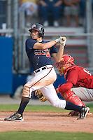 Designated hitter Shayne Moody (10) of the Danville Braves follows through on his swing at Dan Daniels Park in Danville, VA, Sunday July 27, 2008.