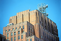 New York: Western Union Building, 1930. 60 Hudson St. Voorhees, Gmelin & Walker, architects. 19 shades of brick. Art Deco style. Zoom. Photo '91.
